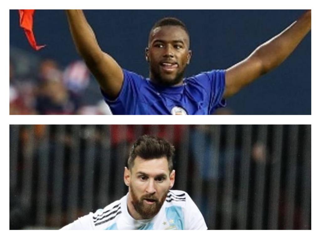 Collage de Photo des attaquants Duckens Nazon (Havti) et de Lionel A. Messi (Argentine).