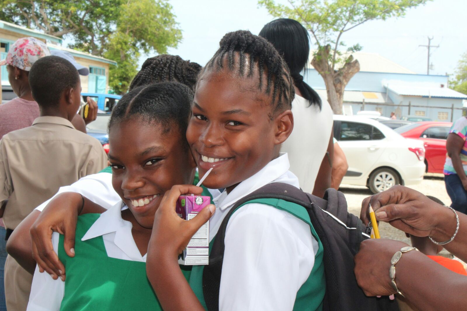 These two girls from St Catherine's were elated that the exam was out of the way