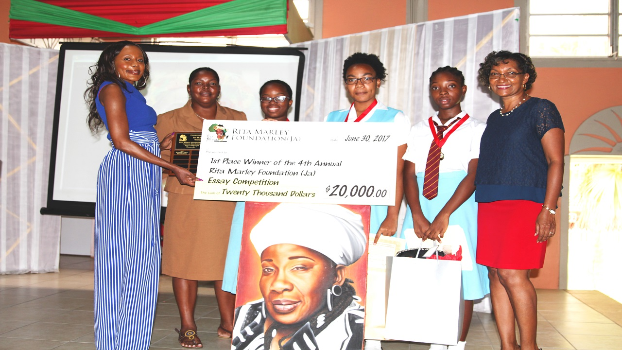 (From left) Rosemary Duncan, manager of the Rita Marley Foundation, with Arlene Morgan, VP Upper School at Wolmer's Girls' School; Wolmer's students Tamoy Campbell (1st), Danelle Mathews (2nd) and Kuan Kera Wheatley (3rd); and Charmaine Ashman, Wolmer's VP Lower Form at last year's presentation ceremony.