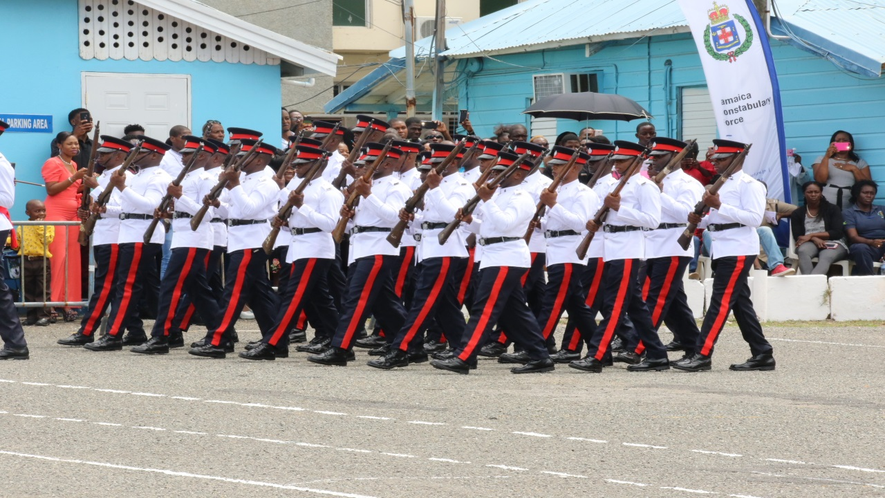 Police recruits on parade at their graduation at a Jamaica Constabulary Force (JCF)  training facility in St Andrew on Friday.