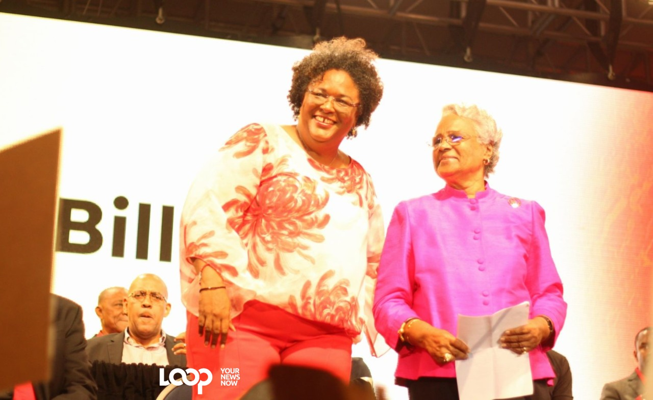 Barbados Labour Party (BLP) Leader Mia Mottley and BLP stalwart, Dame Billie Miller.