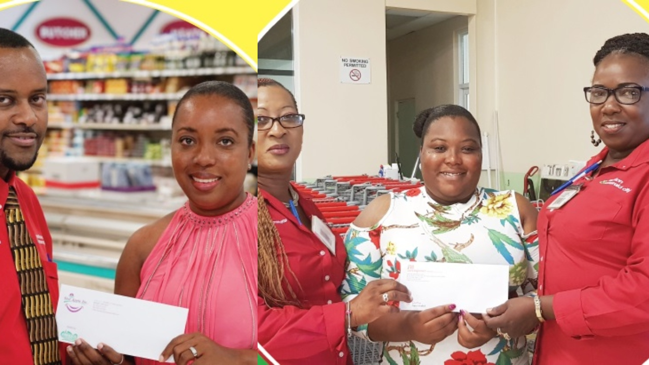 Left Photo: Supervisor at the Emerald City Store Korey Kellman (left), presents Laurin Grimes with her prize after she was one of two winners who accurately guessed the 2018 election date.  Right Photo: Proud Winner Shanice Walters (centre), is all smiles as she receives her prize from Supervisors Janice Newsam and Janice Cottle at the Carlton Store.