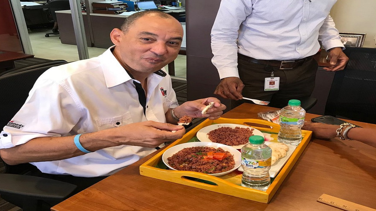 GraceKennedy CEO Don Wehby shared a photo of himself on Twitter sampling the 'Grace Bully Beef' last week.