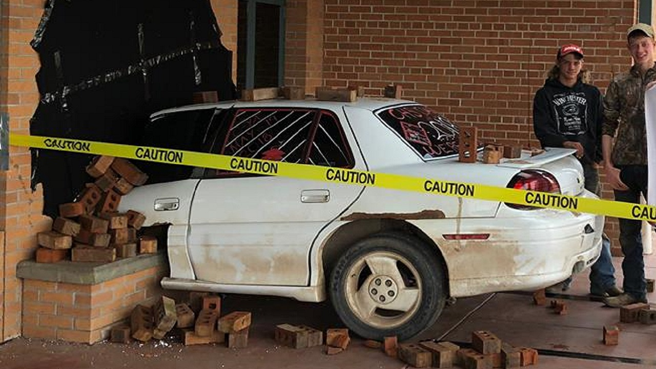 Wisconsin students pull off incredible senior prank that makes it look like a car crashed into their principal's office