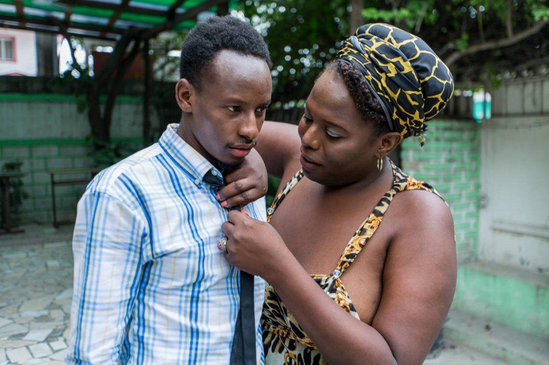Yaisah Val avec son mari Richecarde Val le 16 mai 2018 à Port-au-Prince / Crédit Photo: Pierre Michel JEAN / AFP