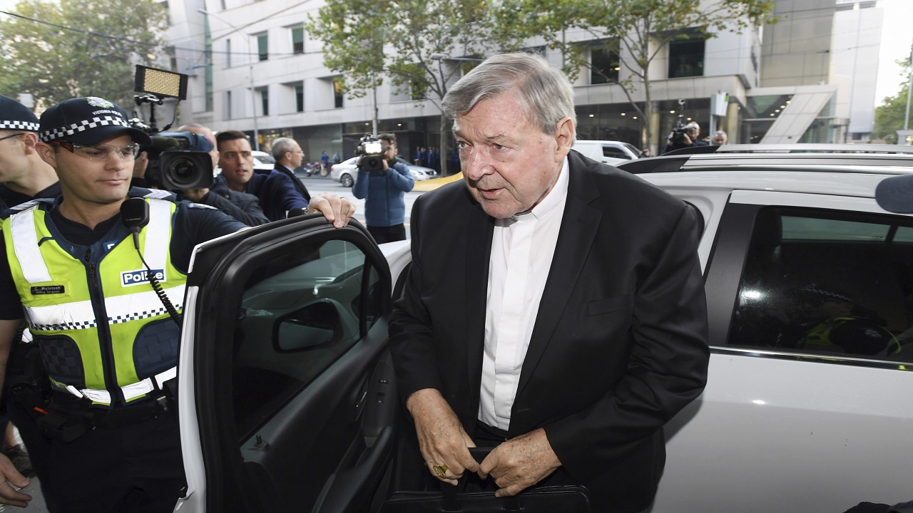 (Image: AP: Australian Cardinal George Pell arrives at court on 1 May 2018)