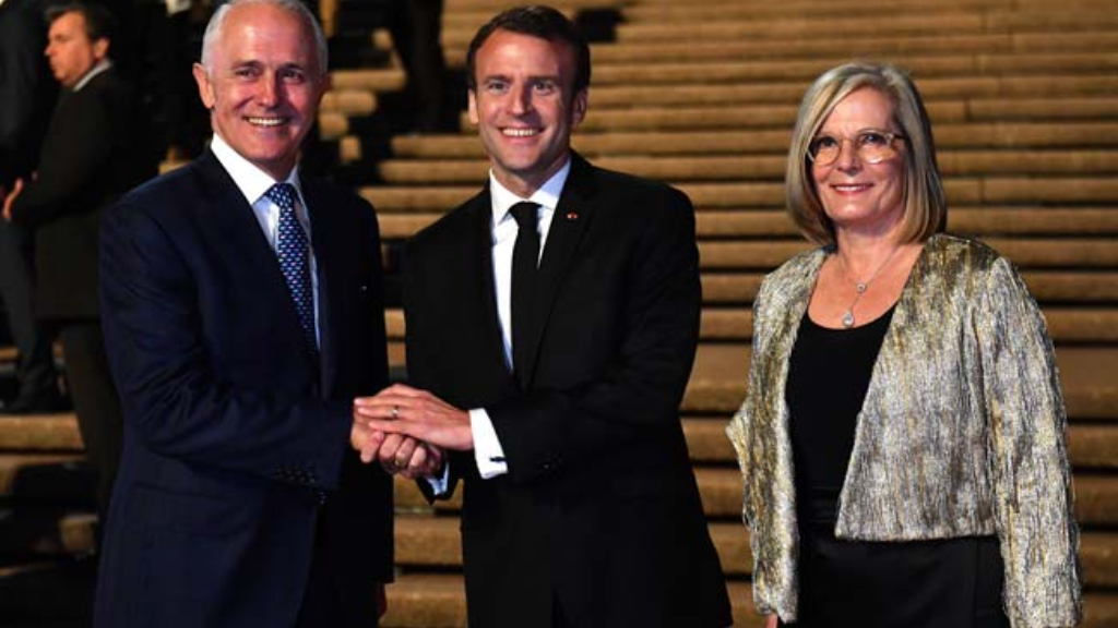 France's Emmanuel Macron with Australian Prime Minister Malcolm Turnbull and wife Lucy Turnbull