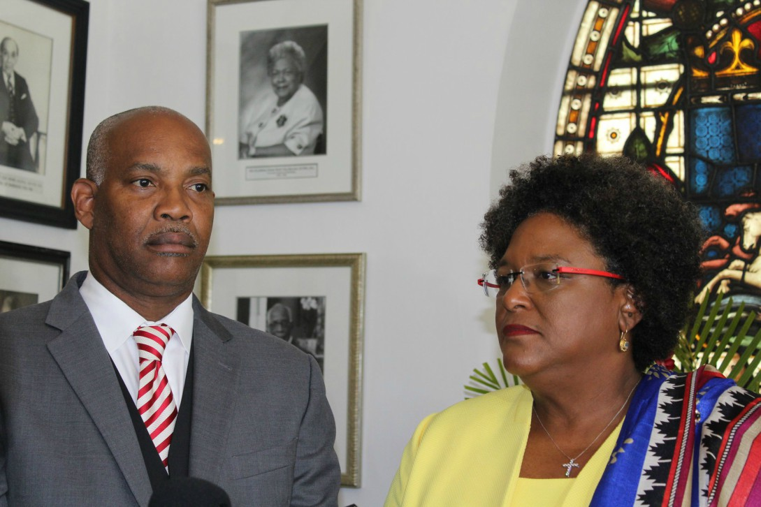 Prime Minister Mia Mottley and Attorney General Dale Marshall.  (BGIS)