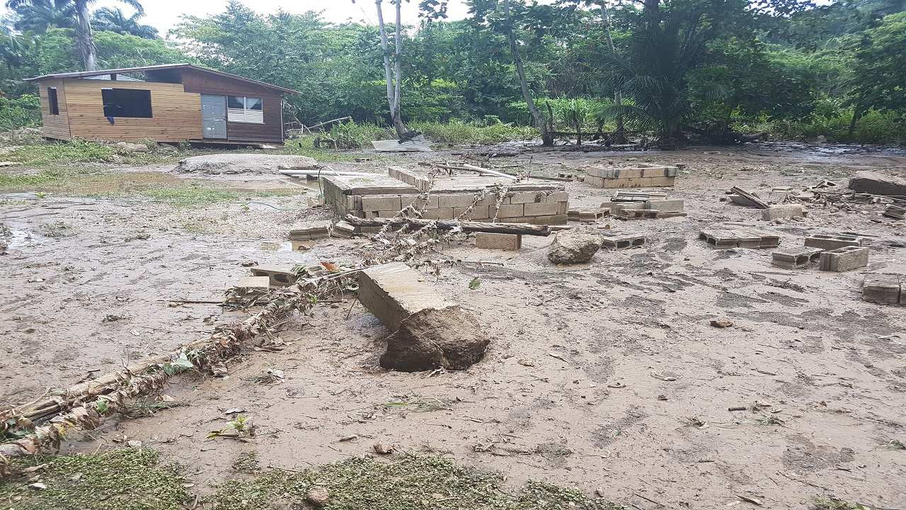 House washed away from its foundation in Lances Bay.