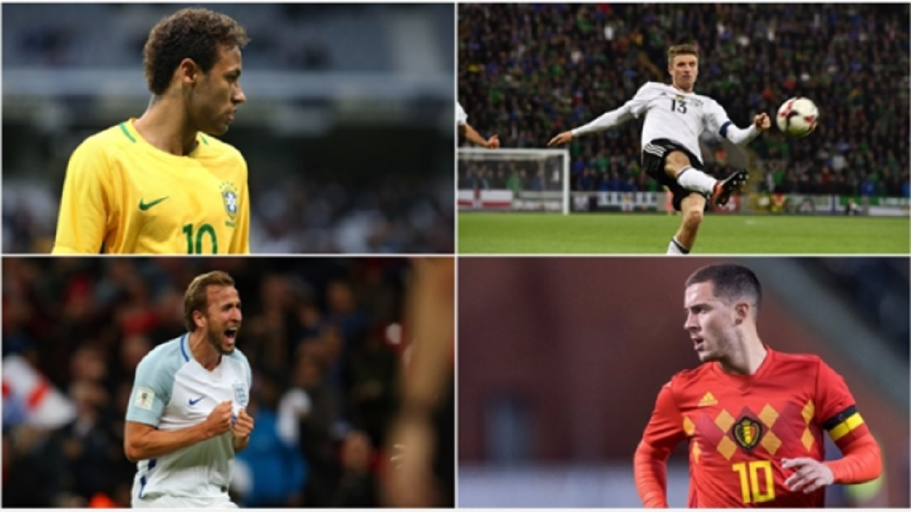Neymar (top left), Thomas Muller (top right), Harry Kane (bottom left), Eden Hazard (bottom right)