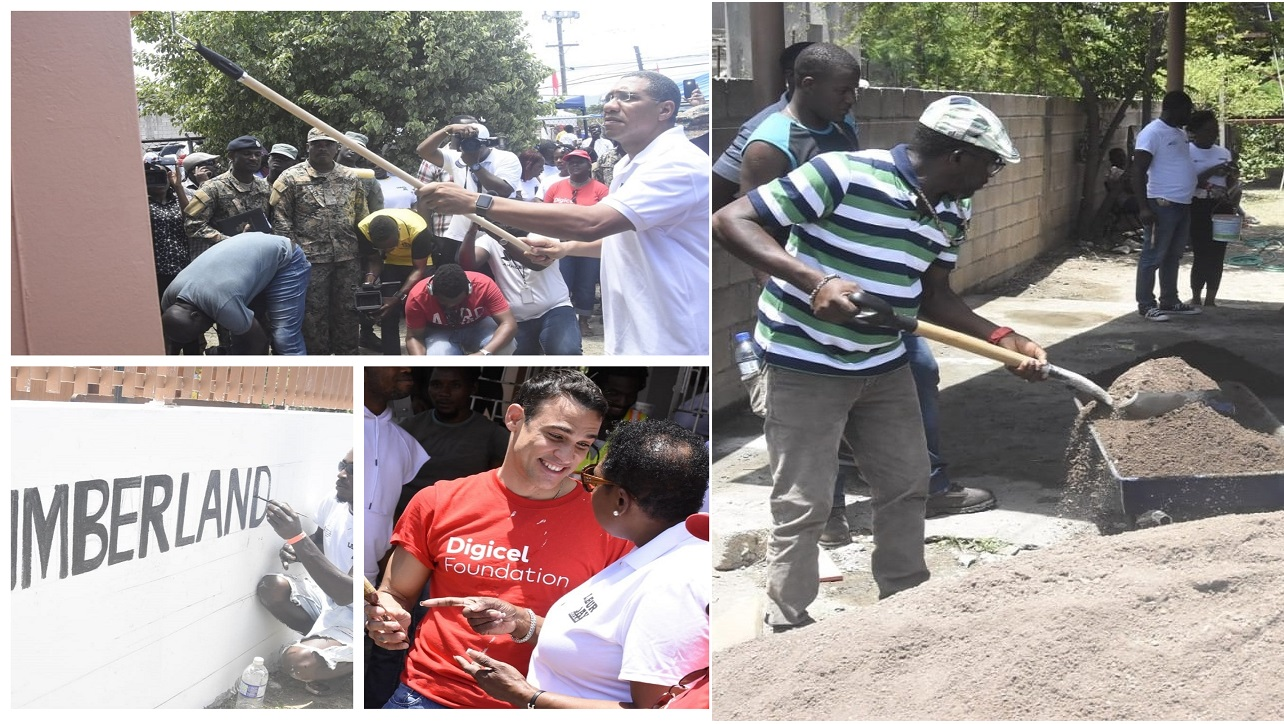 Photo collage of some of the activities at the Cumberland Road Health Centre on Labour Day. (PHOTOS: Marlon Reid)