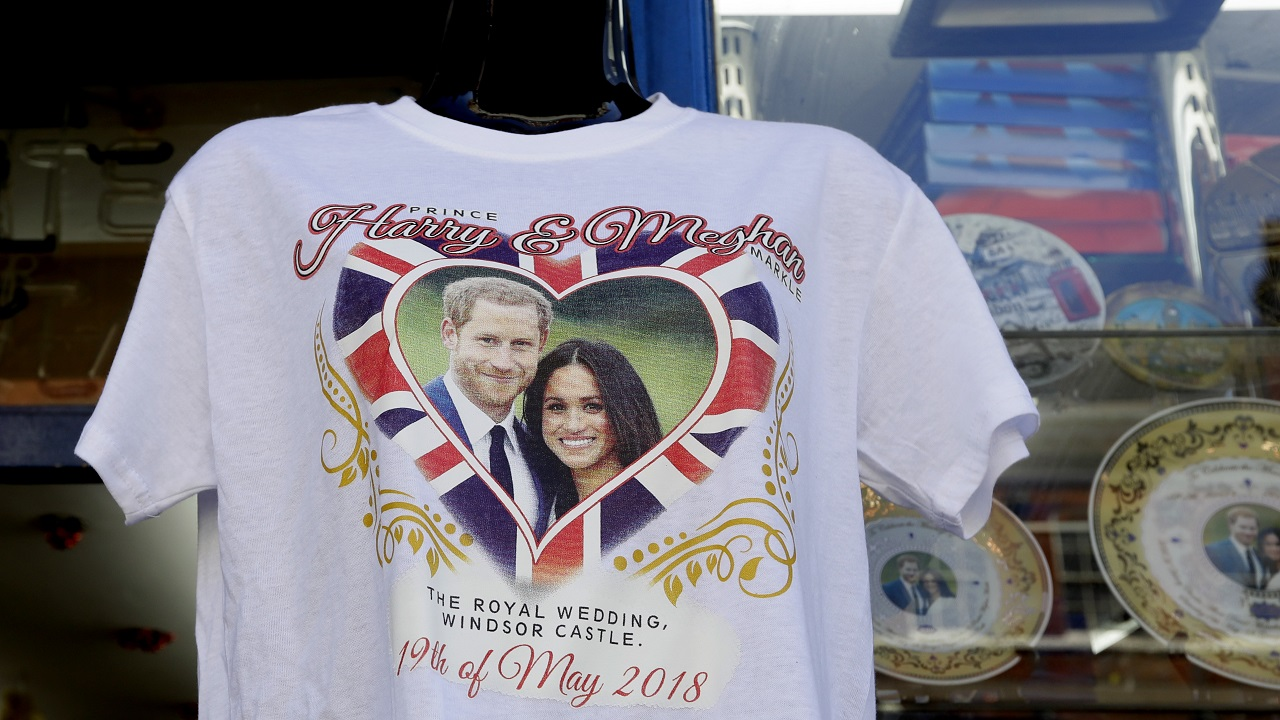 (Image: A royal wedding T-shirt on sale in Windsor, England on 14 May 2018)