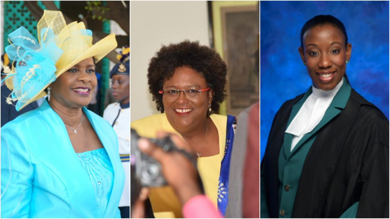 (L-R) Governor General Dame Sandra Mason, Prime Minister Mia Mottley and Director of Public Prosecutions Donna Babb-Agard