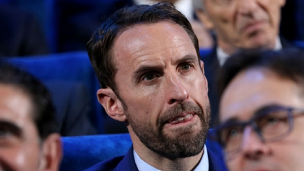 England manager Gareth Southgate at the World Cup draw.