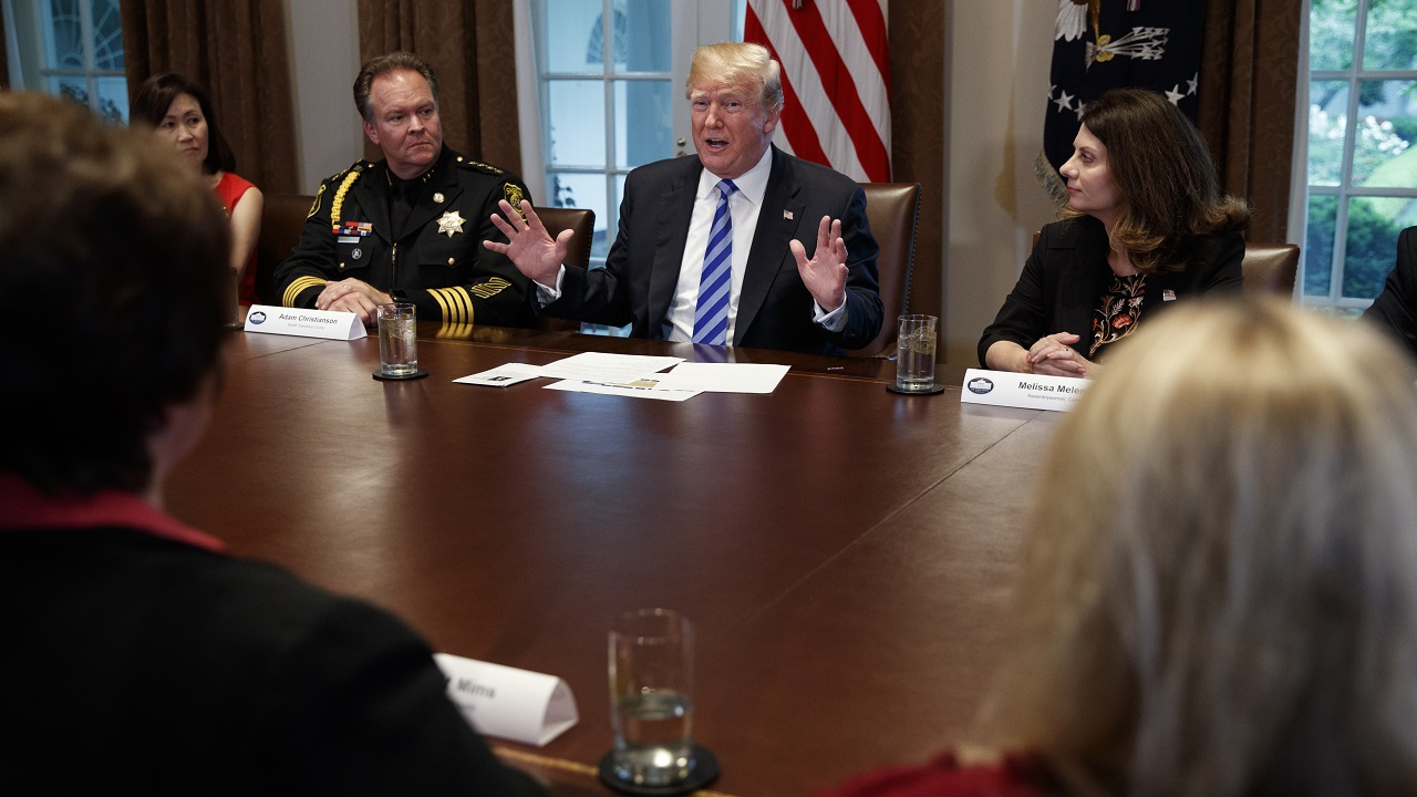 (Image: AP: Donald Trump at a meeting on immigration policy on 16 May 2018)