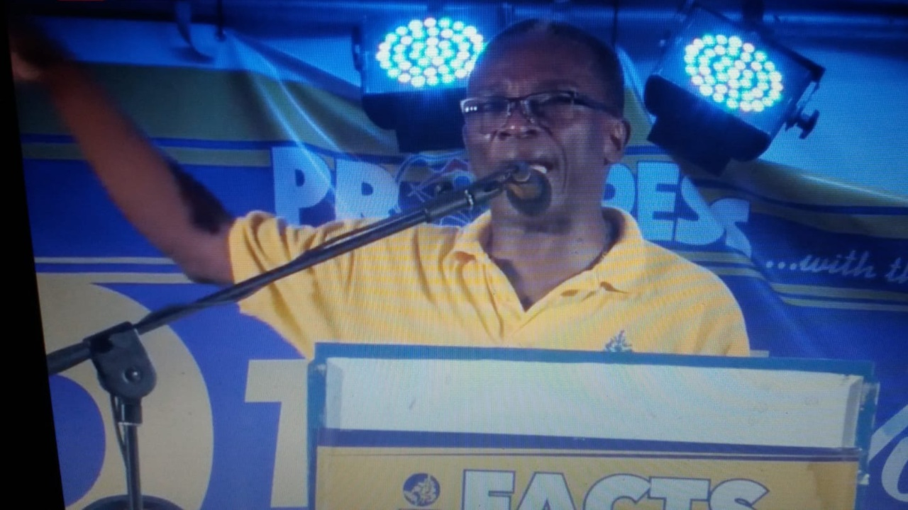 Denis Kellman in his constituency of St. Lucy at a spot meeting