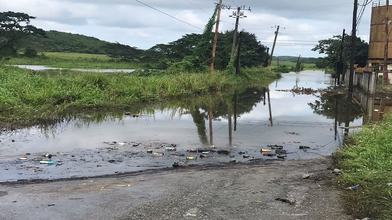 Flood waters in the Carey Park section of Trelawny on Thursday.