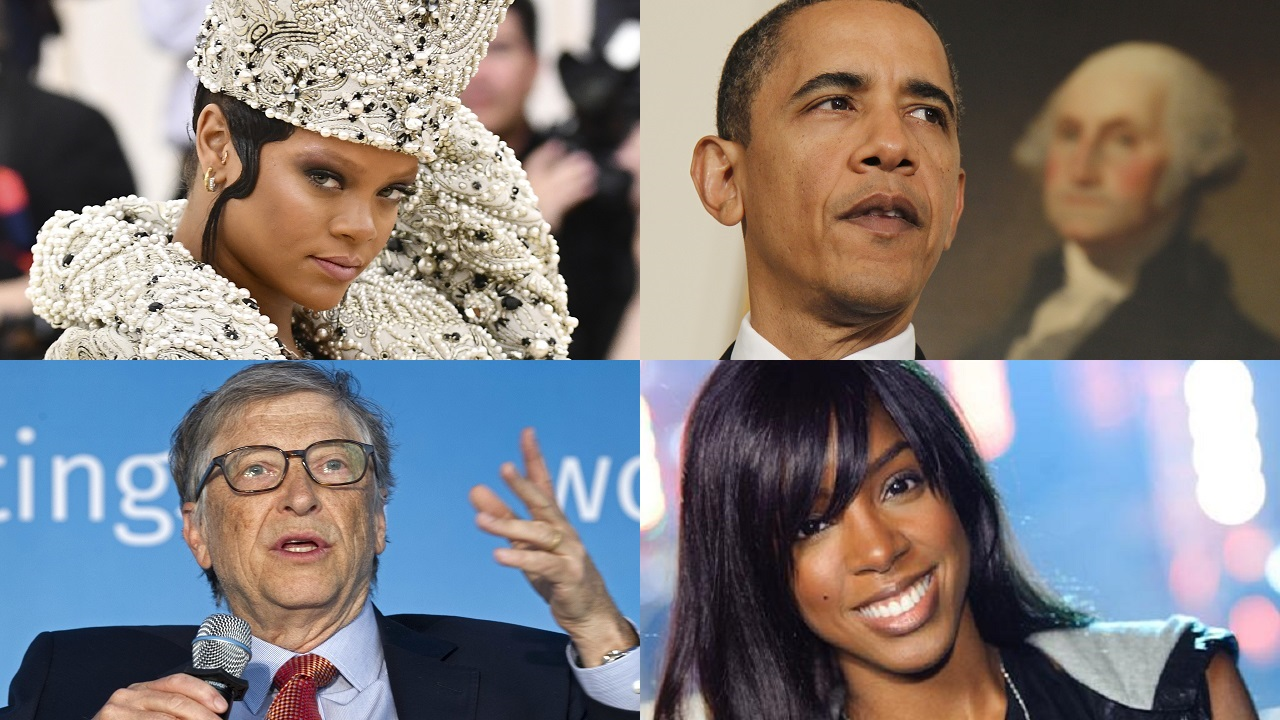(Images: Rihanna, Barack Obama and Bill gates via AP; Kelly Rowland via WikiCommons)
