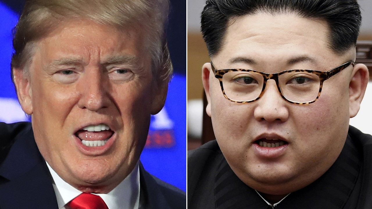US president Donald Trump (left) and North Korea leader Kim Jong Un.