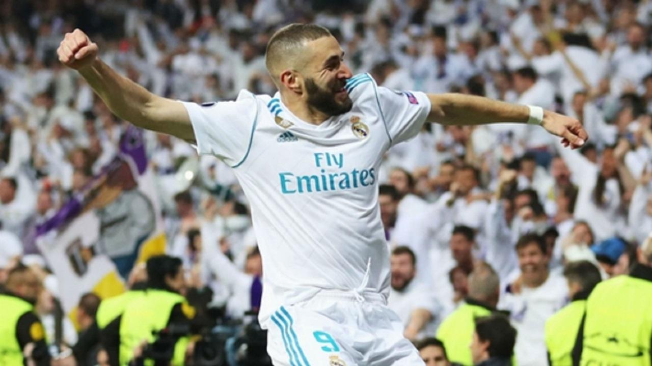 Karim Benzema celebrates a goal against Bayern Munich.