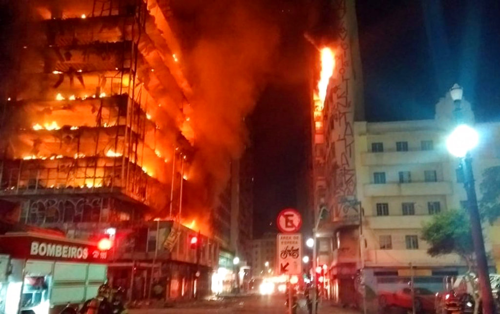 In this photo released by Sao Paulo Fire Department, a building on fire is seen in Sao Paulo, Brazil. (Sao Paulo Fire Department via AP)