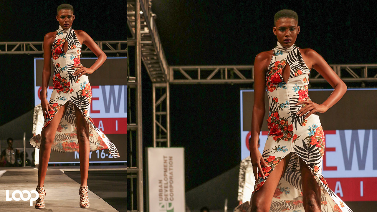 A Saint International model on the runway during Style Week Jamaica's City Style 2 event in downtown Kingston on Friday. (PHOTOS: Shawn Barnes)