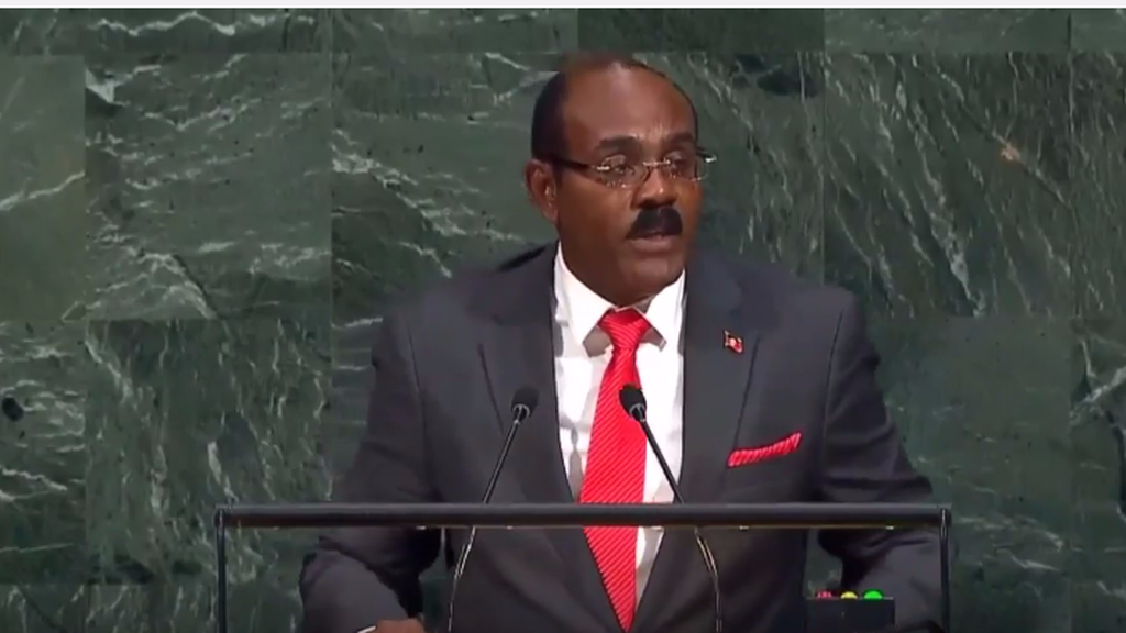 Gaston Browne, PM of Antigua and Barbuda, addresses the UN General Assembly in New York.