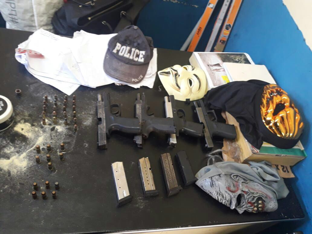 The guns, ammunition and other items which were seized by the Hanover police on Sunday morning.