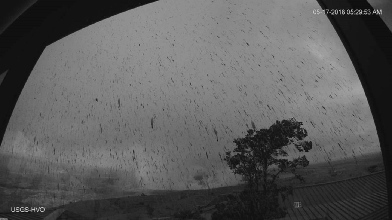 (Image: AP: Photo from US Geological Survey shows a view of the ash plume raining down on 17 May 2018)