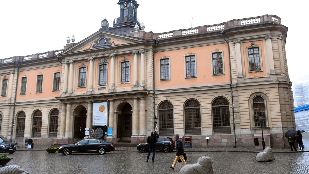 The old Stock Exchange Building, home of the Swedish Academy in Stockholm on Thursday May 3, 2018. For the first time since 1943, there's a notable risk that no Nobel Prize in literature will be awarded this year.