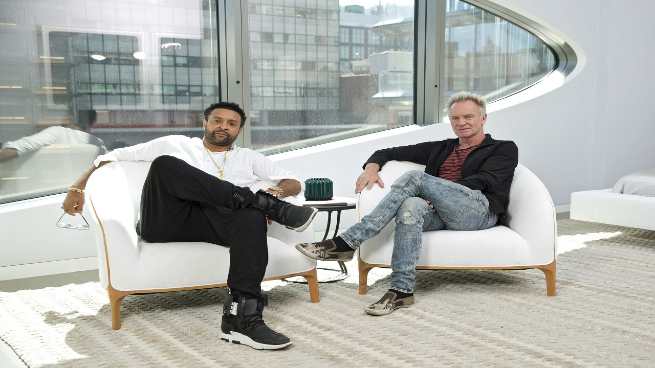 """In this April 23, 2018 photo, musicians Shaggy, left, and Sting pose during an interview to promote their new CD, """"44/876"""" at 520 West 28th by Zaha Hadid on in New York. (Photo by Brian Ach/Invision/AP)"""