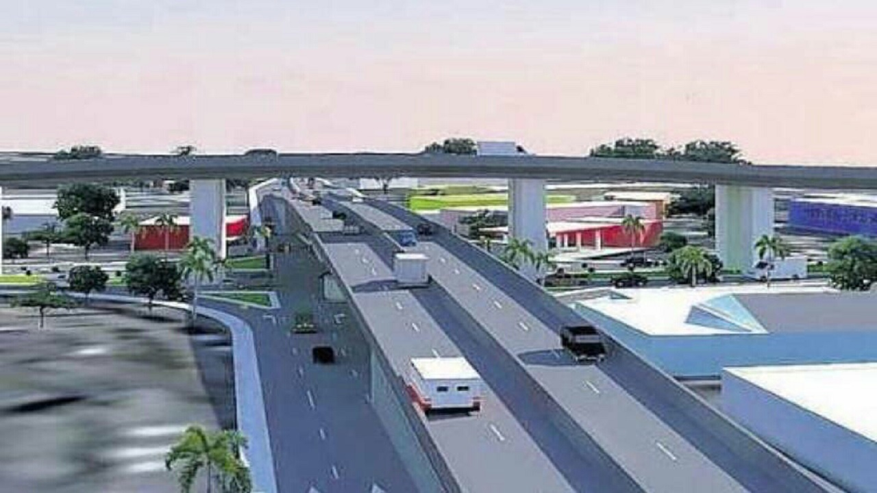 An technical outline of what the Three Miles intersection in St Andrew will be transformed to on completion of the Hagley Park Road Improvement Project.