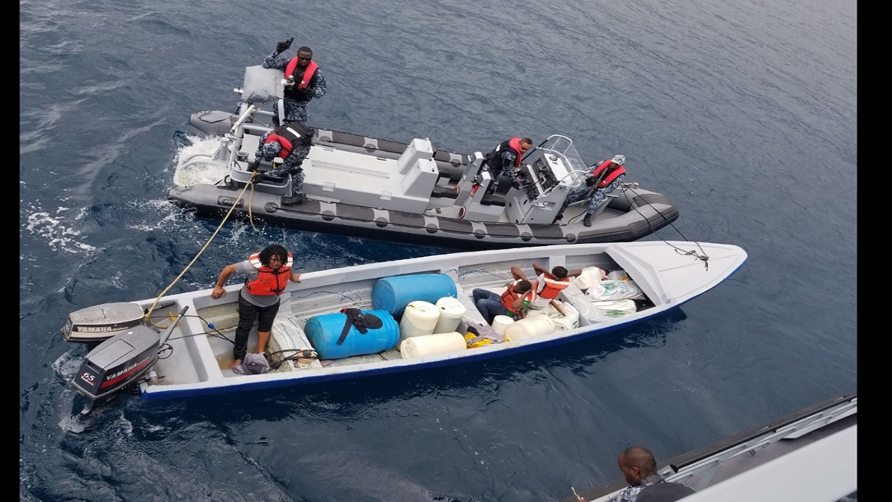 The Jamaica Defence Force (JDF) Coast Guard in action at sea.