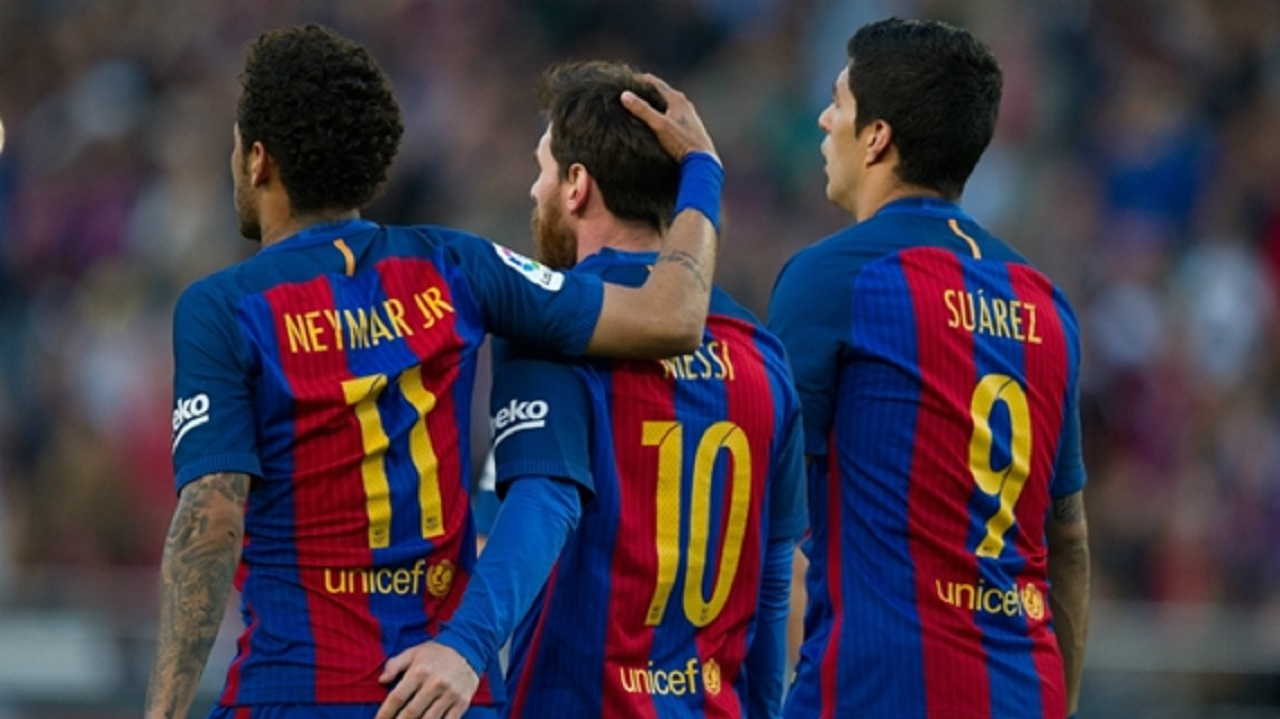 Neymar, Lionel Messi and Luis Suarez during a Barcelona match.