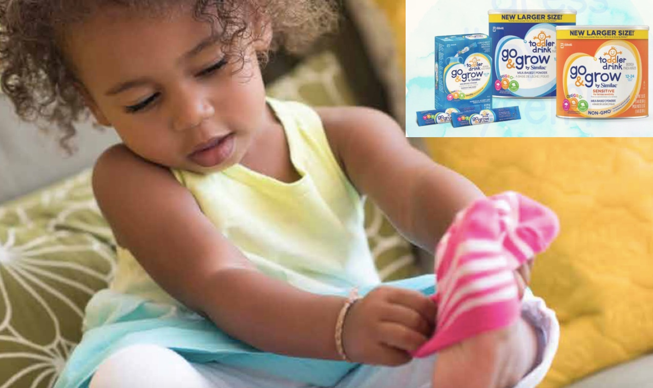 Toddlers need just one sippy cup of Go & Grow by Similac to continue their development.