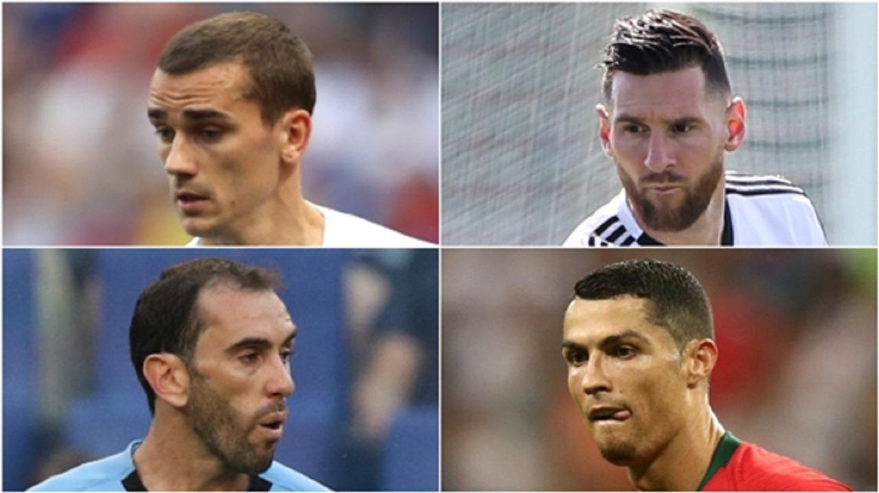 World Cup stars Antoine Greizmann, Lionel Messi, Diego Godin and Cristiano Ronaldo.
