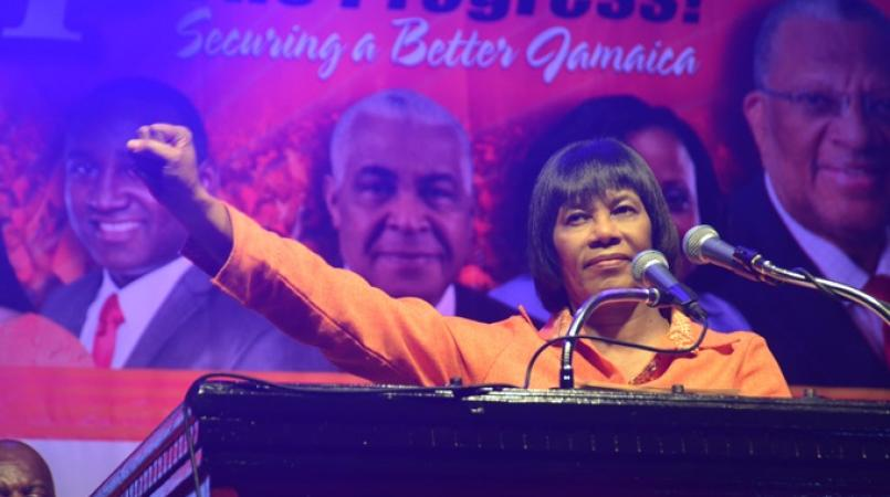 File photo of former Prime Minister and PNP President, Portia Simpson Miller, at a party conference.