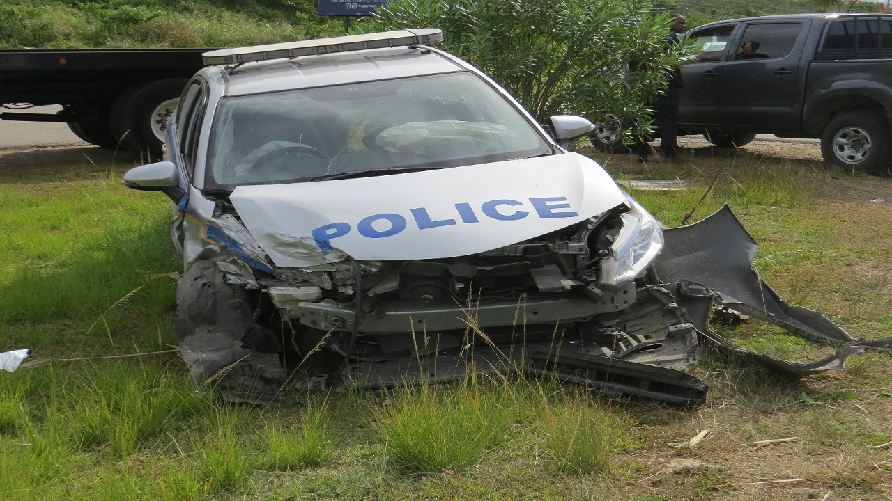 The police service vehicle that was involved in a collision with another vehicle in Trelawny on Monday of this week.