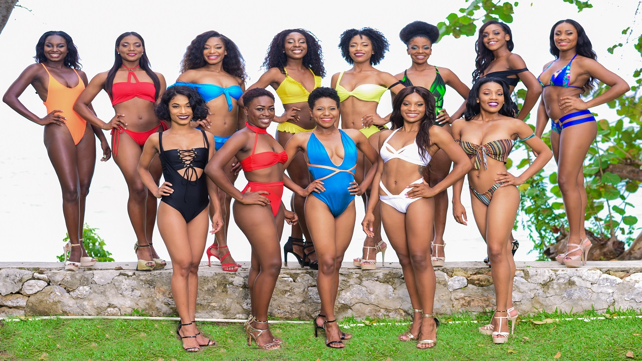 The ladies who will be vying for the Miss Universe Jamaica North-East title. Originally 13 women, one has since pulled out of the competition, reducing the overall number to 12.