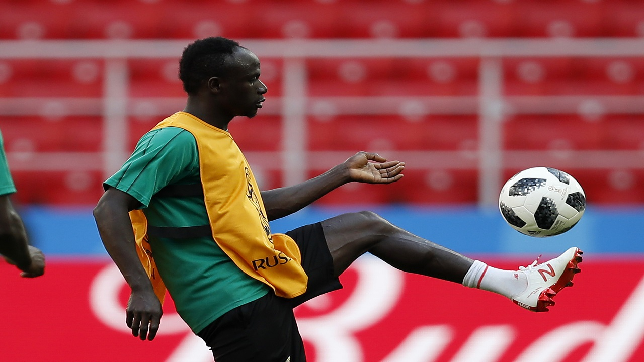 Senegal's Sadio Mane controls the ball during Senegal's official training on the eve of the group H match between Poland and Senegal at the 2018 World Cup in the Spartak Stadium in Moscow, Russia, Monday, June 18, 2018. (AP Photo/Eduardo Verdugo)