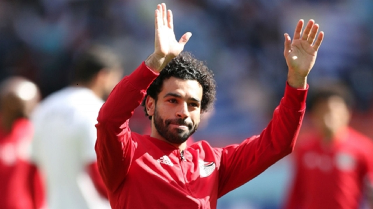 Egypt forward Mohamed Salah waves to the crowd while training at the 2018 World Cup.