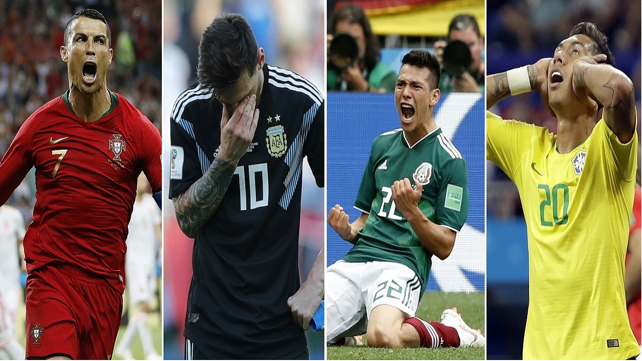 (From left) Portugal's Cristiano Ronaldo, Argentina's Lionel Messi, Mexico's Hirving Lozano and Brazil's Roberto Firmino react during their respective opening matches at the 2018 World Cup in Russia. (PHOTOS: AP)