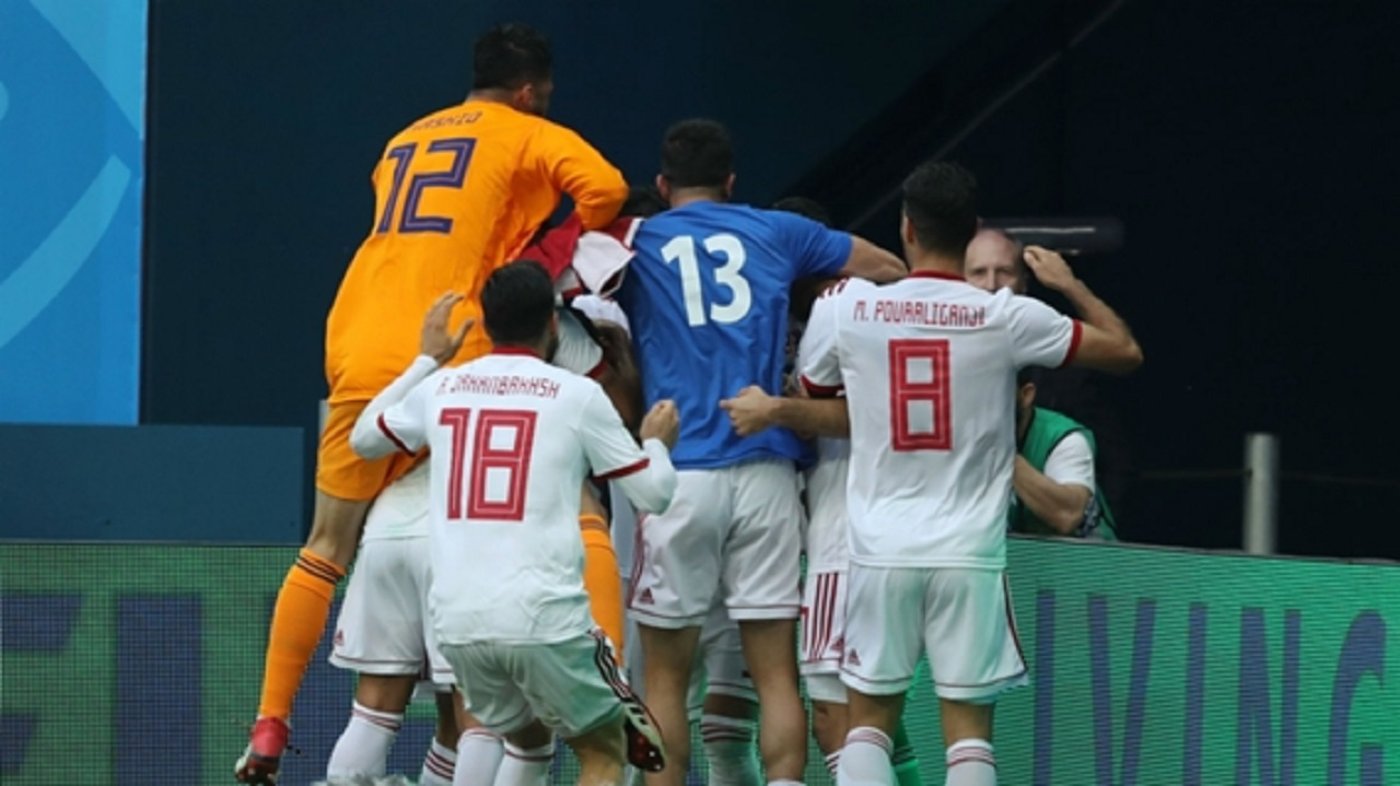 Iran celebrate at the World Cup.