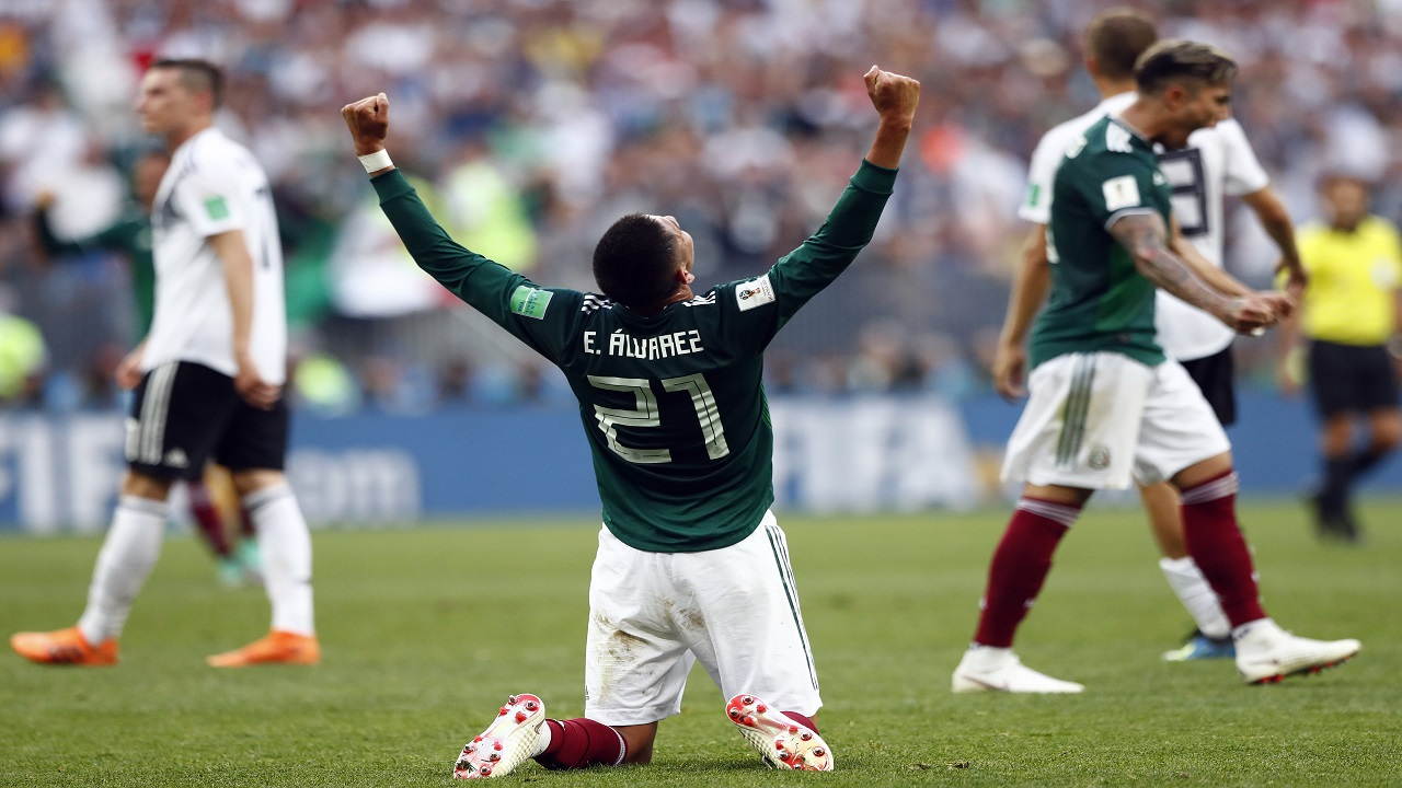 Mexico's Edson Alvarez celebrates after his team won the group F match against Germany at the 2018 football World Cup in the Luzhniki Stadium in Moscow, Russia, Sunday, June 17, 2018. (AP Photo/Matthias Schrader).