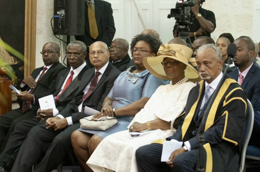 Members of Parliament along with Prime Minister, Mia Mottley at the Opening of Barbados Parliament.