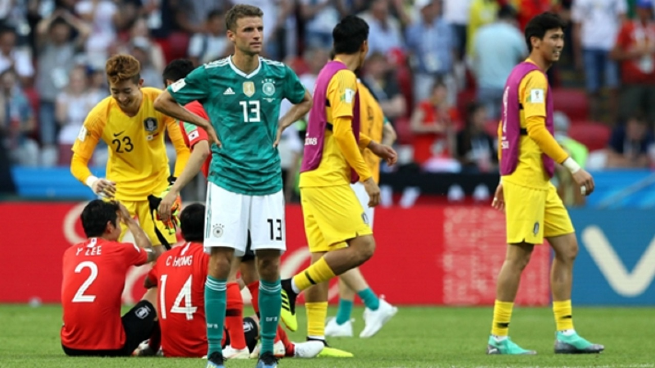 Germany's Thomas Muller reacts to their loss to South Korea.