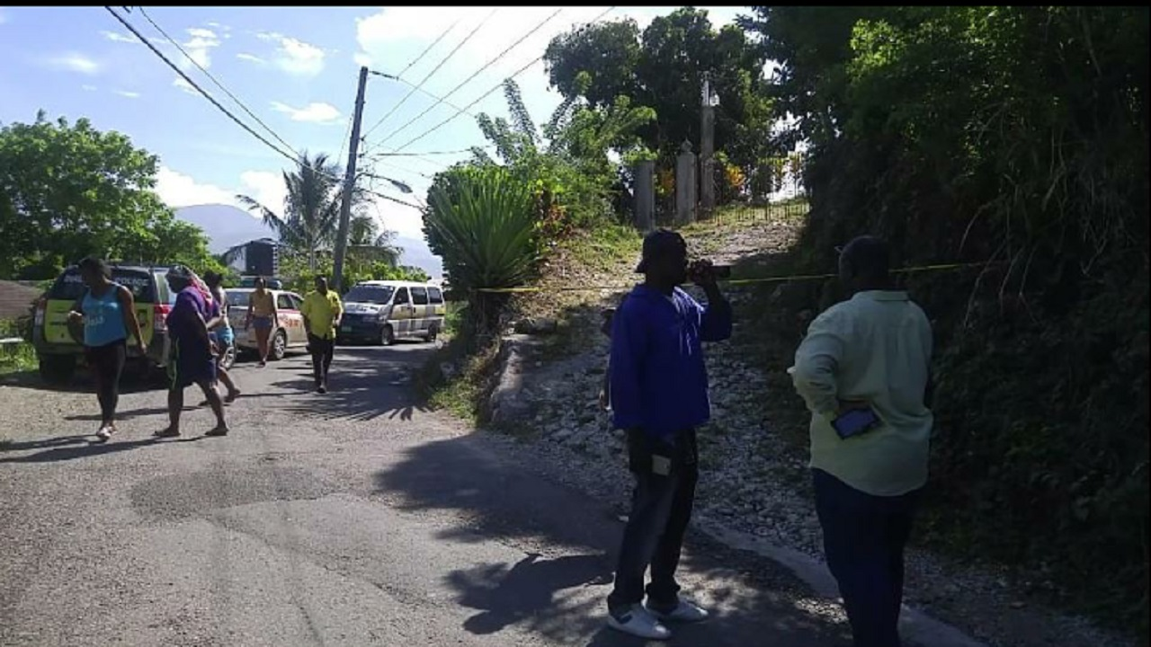 A section of the Mount Pleasant community cordoned off as police investigators processed the crime scene.
