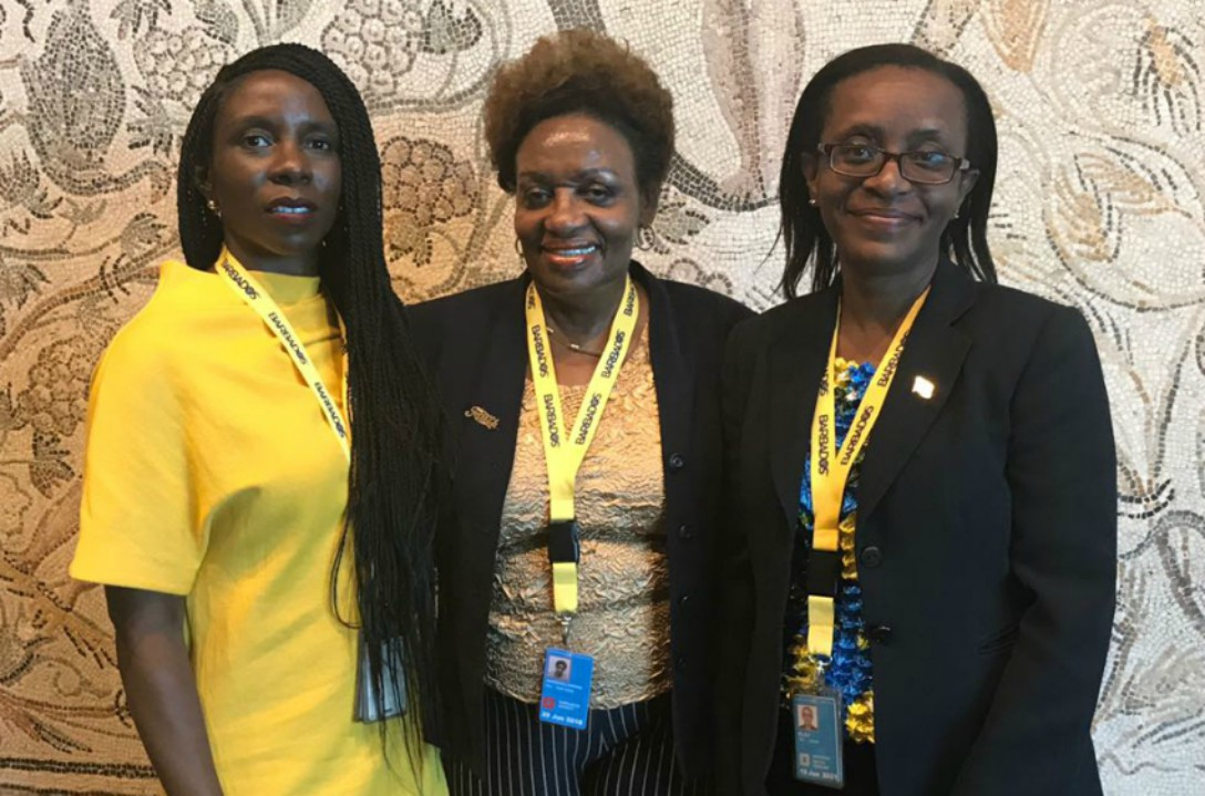 Faith Marshall-Harris (centre), Kereeta Whyte (left) and Chargé d' Affairs, Juliette Babb-Riley (right) on being elected to the Committee on the Rights of the Child. (MFAFT)