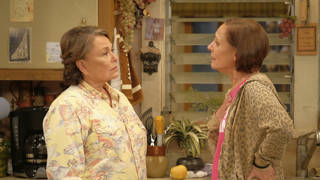 (Image: AP: Roseanne Barr (L), pictured with Laurie Metcalf in a scene from now-cancelled sitcom Roseanne)