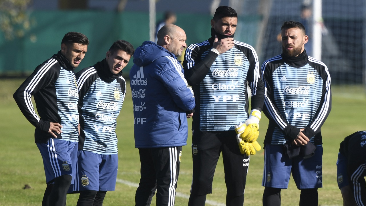 From left, Argentina soccer players Eduardo Salvio, Marcos Acuna, goalkeeper Sergio Romero and Nicolas Otamendi attend a training session of the Argentina national soccer team in Buenos Aires, Argentina, Tuesday, May 22, 2018. (AP Photo)